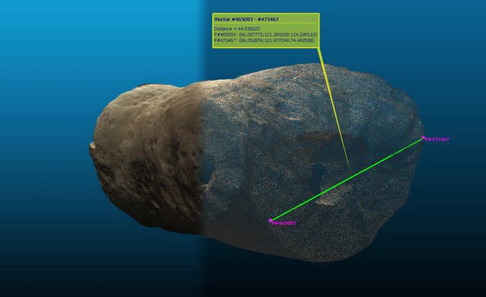 Digitalización de un posible hueso fosilizado.