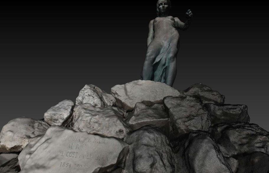 Nubes de puntos.  Estatua Palma de Mallorca.